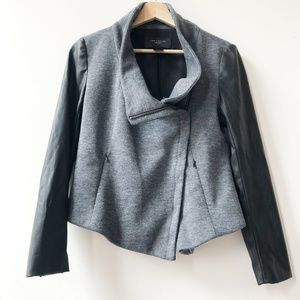 Ann Taylor | Gray Jacket w/Faux Leather Sleeves